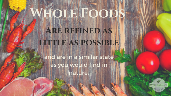 whole foods are refined as little as possible, and are in a similar state as you would find in nature