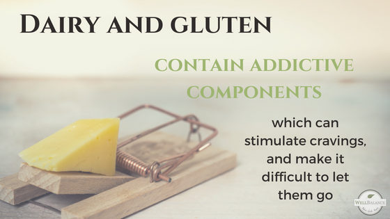 dairy and gluten contain addictive components, which can stimulate cravings, and make it difficult to let them go