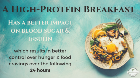 a high protein breakfast has a positive impact on food cravings that lasts for 24 hours